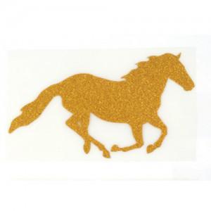 Pegatina aplique textil caballo galope C/purpurina